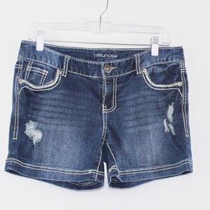 💘 Maurices Distressed Dark Jean Shorts 5/6